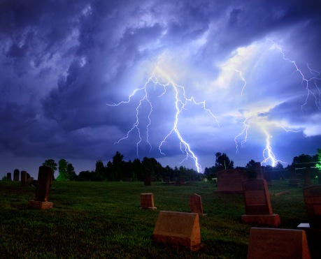 A single exposure image capturing two lightning strikes in NC in 2013.