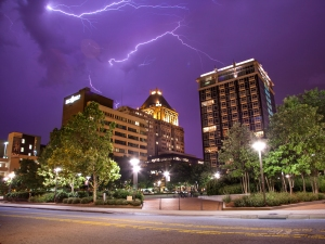Lightning over downtown Greensboro, 2015.