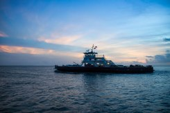 Ocracoke/Hatteras Ferry at sunset, 2015.