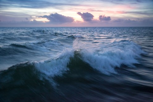 Waves seen from the Ocracoke/Hatteras Ferry, 2015.