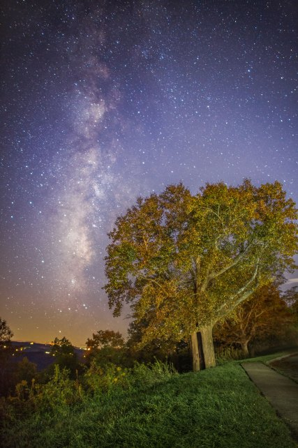 Milky Way over Autumn leaves along the Blue Ridge Parkway in NC. 2015.