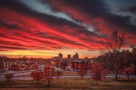 Sunrise and fall colors over downtown Greensboro, NC. 2015.
