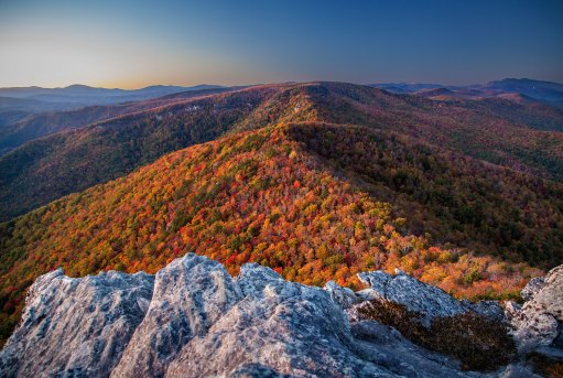 Twilight and fall colors from the top of Hawksbill Mountain, in NC. 2015.