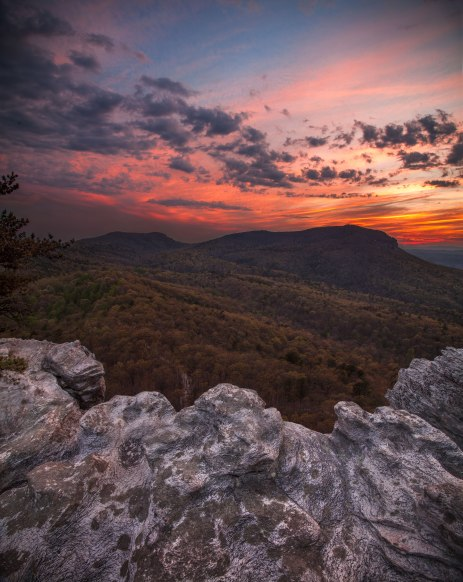 Epic sunset at Hanging Rock State park in NC.