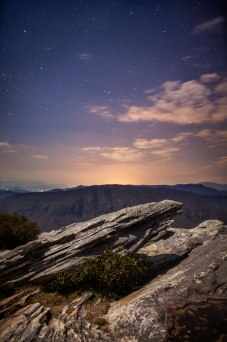 Stars above the moonlit cliffs of Hawksbill Mountain, in NC. From a early Spring, 2016 while in Linville Gorge.