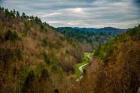 Meandering road on a cloudy day in western NC. I love seeing the greens of Spring coming in! From a early May in Boone, NC.