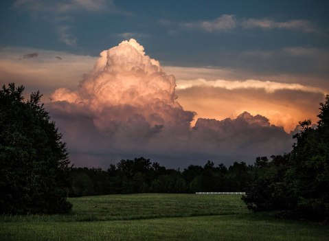 'Storm glow'.... These are sunset lit storms, from early May 2016 in Burlington NC. Very strong storms and the color was insane!! I followed these storms for a few hours after this shot, chasing the lightning into the night.
