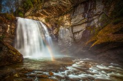 Rainbow at Looking Glass Falls, 2016. in North Carolina.