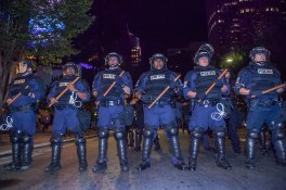 Riot squad team assembles near the beginning of the protest. Captured just before the protest became violent following the death of protestor Justin Carr. Uptown Charlotte, NC 9/21/16