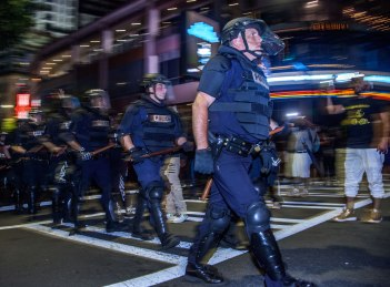 A motion pan of the riot squad. Uptown Charlotte, NC 9/21/16