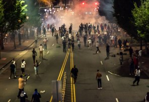 View from above the protest as tear gas is dispersed into the crowd. Uptown Charlotte, NC 9/21/16
