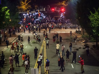 View from above the protest. Uptown Charlotte, NC 9/21/16