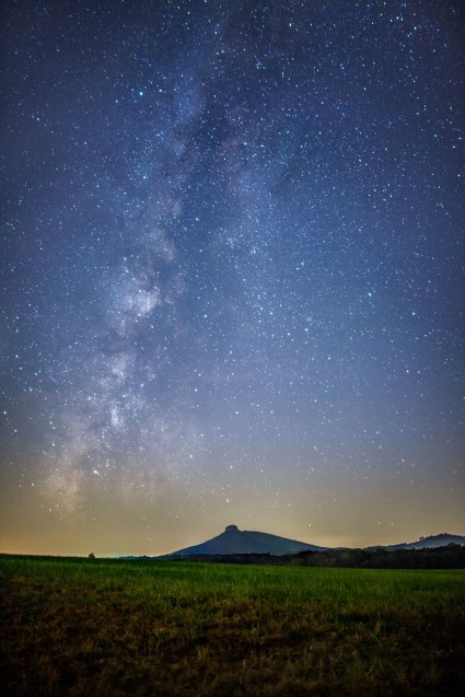 Pilot Mountain under the Milky Way, early November 2016.