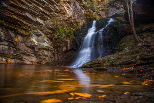 Autumn leaf swirls and sunset light at Lower Cascade Falls, part of Hanging Rock State Park in NC. A five second long exposure captured early November 2016.
