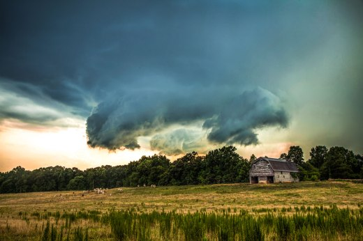 Base of a storm over a cow pasture and old barn, in southern NC.