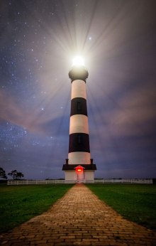 Stars and clouds from Tropical Depression Bonnie, at the Bodie Island lighthouse in the Outer Banks. Early June 2016.