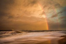 Sunset colors and double rainbow in front of Tropical Depression Bonnie, from the Outer Banks in early June 2016. After a full day of heavy rain and flooding, it was great to see the sun come out for about 30 minutes to produce this amazing view.