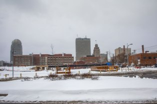 Snowy Winston Salem downtown.