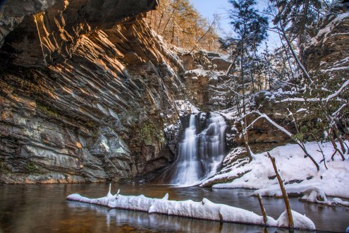 Lower Cascade Falls in the snow on 1/7/17. North Carolina.