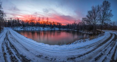 Sunset over a frozen pond in northern NC on 1/9/17.
