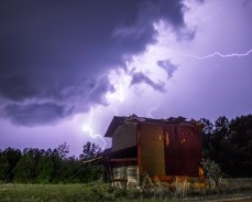 Lightning above a tattered barn south of Hanging Rock, NC.