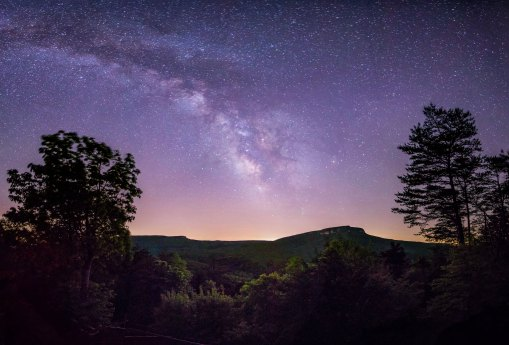 Galactic core of the Milky Way over Hanging Rock State Park in NC, captured May 2017. The Milky Way rose between Hanging Rock and Moore's Knob, providing the perfect opportunity for this 32 image large panorama. A big thanks to Singletree Gun & Plough for inviting me out to one of their scenic overlooks