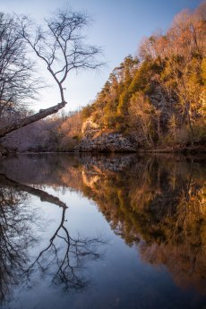 Reflection of the trees and cliffs along the Dan River north of Hanging Rock NC. Captured March 20, 2017. Piece by piece I learn the river better, and I am grateful that Singletree Gun and Plow invited me to their land along the Dan to continue my explorations.