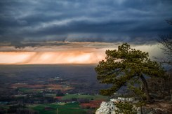 Sunset-lit severe storm and shelf cloud captured from Pilot Mountain, late March 2017