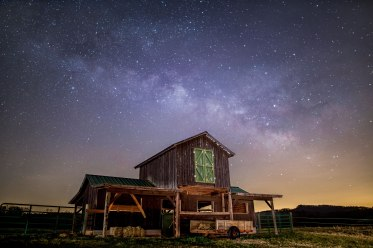 Milky Way, nc, farm, barn, night