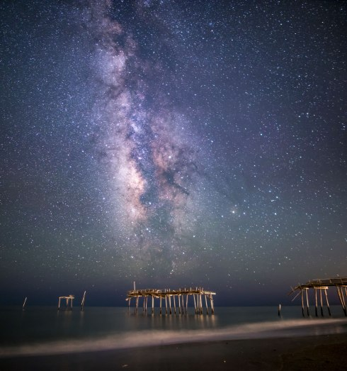 nc, North Carolina, stars, Milky Way, frisco pier