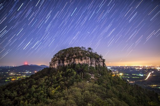 stars, nc, pilot mountain, night