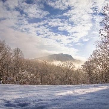 moore's knob. hanging rock, hanging rock state park, snow, December, singletree gun & plough