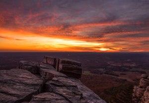 pilot mountain, sky, sunset, little pinnacle