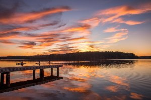 lake Brandt, kayak, North Carolina, sunset