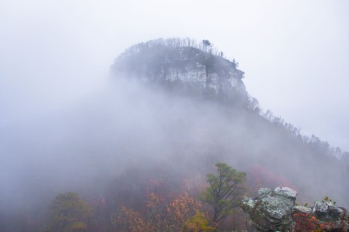 pilot mountain, nc, clouds, fog, autumn
