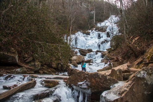 frozen, waterfall, north carolina, catawba