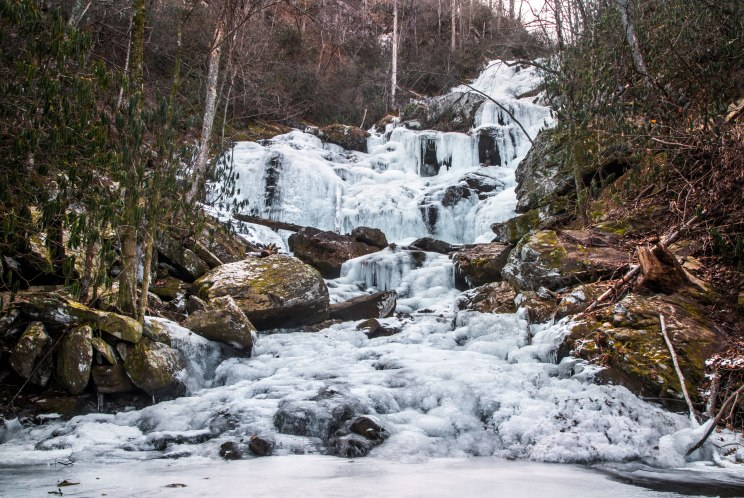 frozen, waterfall, catawba, north carolina