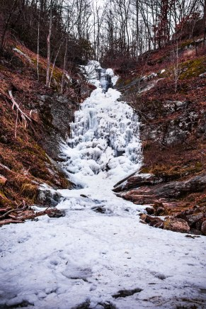 frozen, waterfall, north carolina, toms creek falls