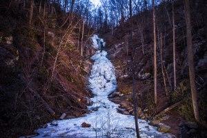 frozen, waterfall, north carolina, toms creek falls