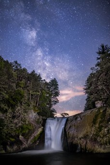 The Milky Way rises above Elk River Falls in western North Carolina