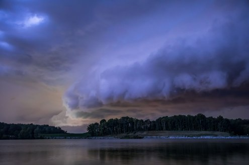 Severe storm in Greensboro North Carolina above Lake Brandt