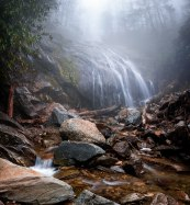 Foggy Glen Burney Falls, one of many waterfalls and cascades found along the Glen Burney trail in Blowing Rock NC