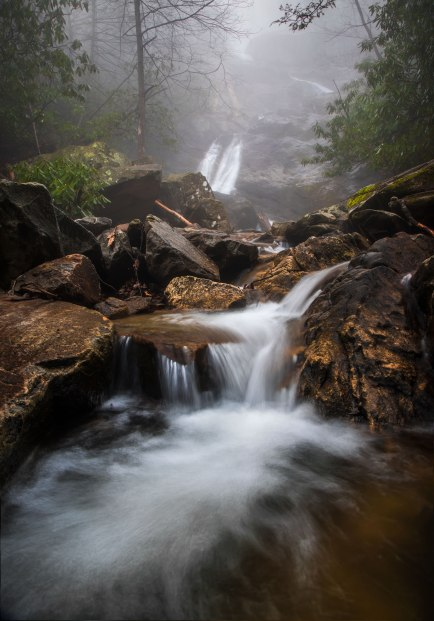 Thick fog at Glen Marie Falls, one of the waterfalls found along the Glen Burney trail. Captured in Blowing Rock, North Carolina. The mossy trail and large trees were amazing to view, and most of the trail paralleled New Years Creek and the countless cascades.