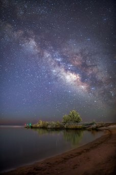 The Milky Way over a curvy bank along the Pamlico Sound in North Carolina