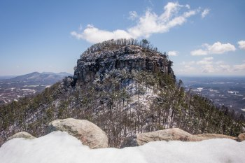 Multiple inches of snow on Pilot Mountain, viewed from Little Pinnacle Overlook in North Carolina