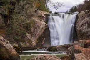 Boulders and cascades at Elk River Falls, captured in North Carolina