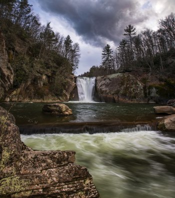 Vertical panoramic shot of Elk River Falls as a storm moves in. Captured in North Carolina