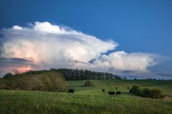 Thunderstorms above a cow pasture in Rocky Knob Recreation Area, south of Floyd, VA, 5/12/18