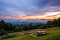 Sunset over the Blue Ridge Mountains along the Blue Ridge Parkway in NC