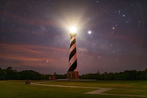 moon, Hatteras, lighthouse, nc
